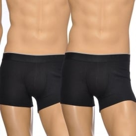Premium Cotton Stretch 2-Pack Boxer Trunk, Black