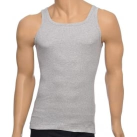 Pure Cotton Rib Tank Top, Grey