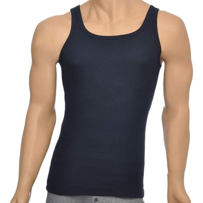 BOSS Pure Cotton Rib Tank Top, Navy