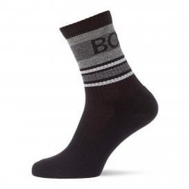 Rib Piquet Quarter Length Socks, Black