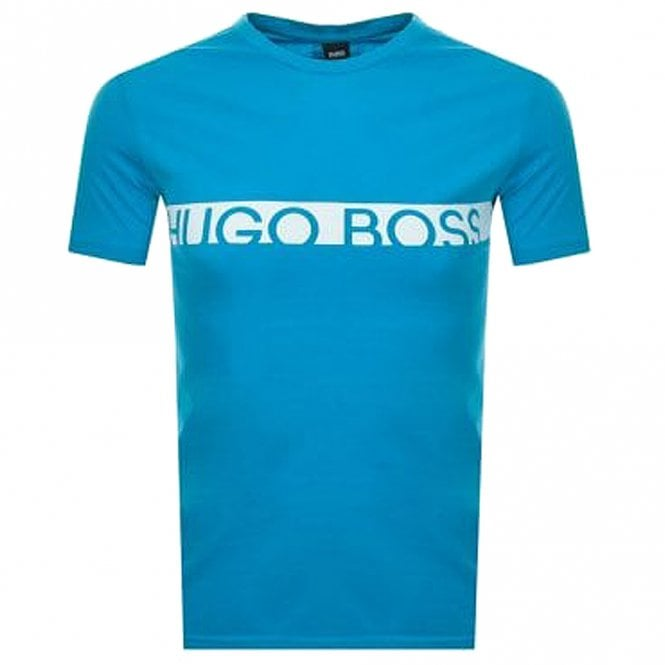 BOSS Slim Fit Logo Cotton Crew T-Shirt with UPF50+ Protection, Bright Blue