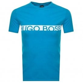 Slim Fit Logo Cotton Crew T-Shirt with UPF50+ Protection, Bright Blue