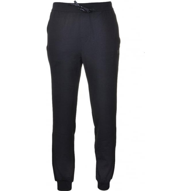 BOSS Stretch Cotton Tracksuit Bottoms with Cuffs, Black