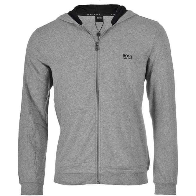 HUGO BOSS Stretch Cotton Zip-through Hooded Jacket, Grey