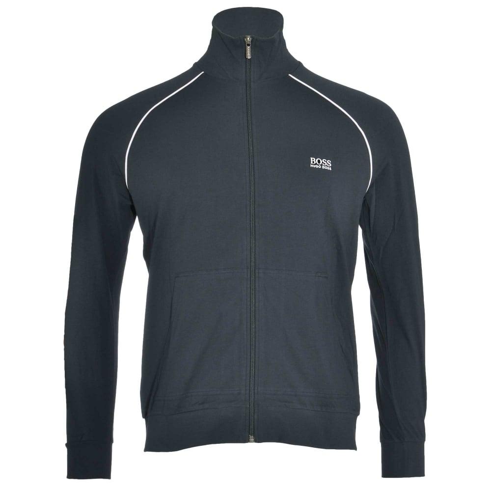 403d8cfc BOSS Stretch Cotton Zip-through Loungewear Jacket, Open Blue, Large