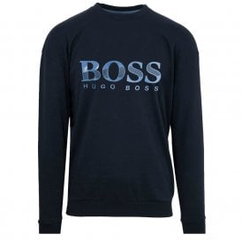 Textured Logo Sweatshirt , Dark Blue