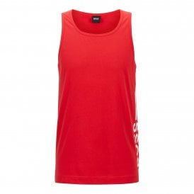 Vertical Logo Pure Cotton Tank Top, Red