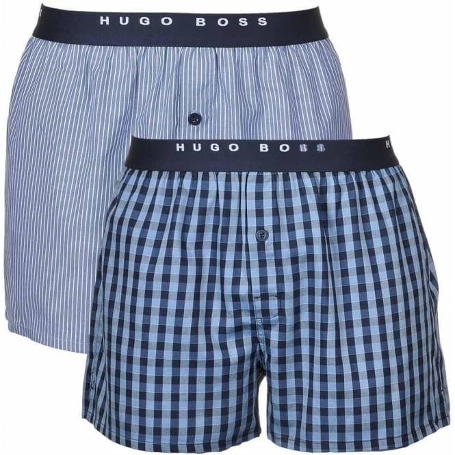 241df143d471 BOSS Woven Boxer Short 2-Pack, Blue/Navy stripe & Check, Small