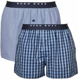 Woven Boxer Short 2-Pack, Blue/Navy stripe & Check