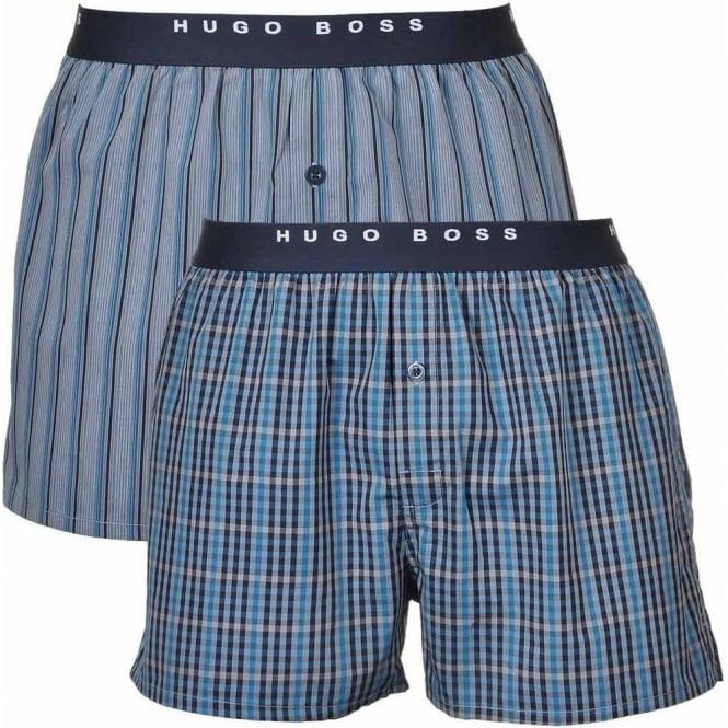 6778de72d90a BOSS Woven Boxer Shorts 2-Pack, Blue/White Stripe & Check, Small