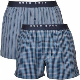 Woven Boxer Short 2-Pack, Blue/White Stripe & Check