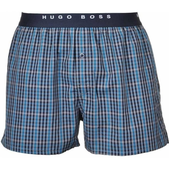 18b0a63c7a4f HUGO BOSS Woven Boxer Shorts 2-Pack Blue/White Stripe & Check