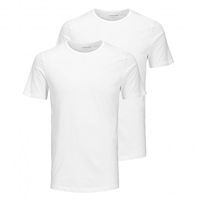 Jack & Jones Cotton Crew Neck T-Shirt 2-Pack, White
