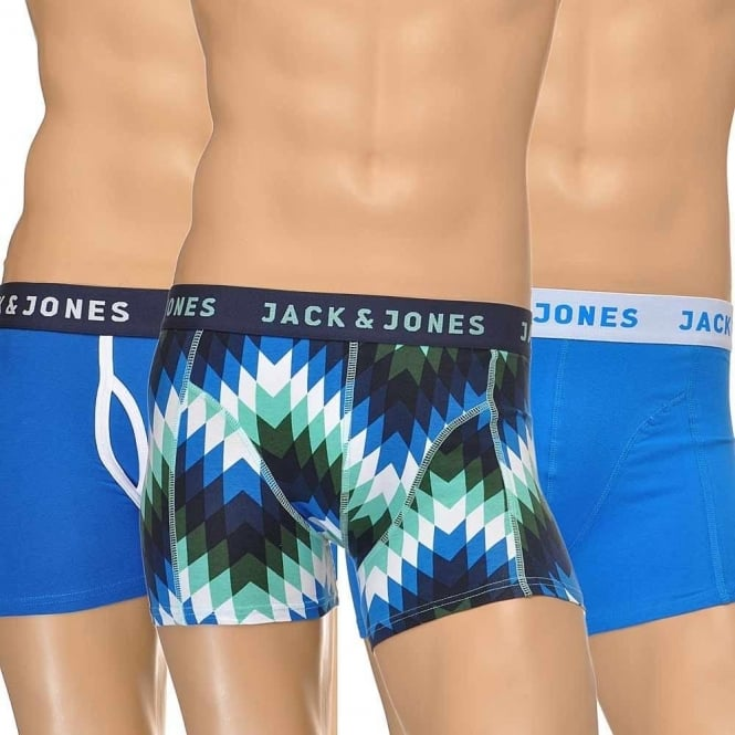 Jack & Jones Cotton Stretch 3 Pack Trunk, Blue/Print/Blue