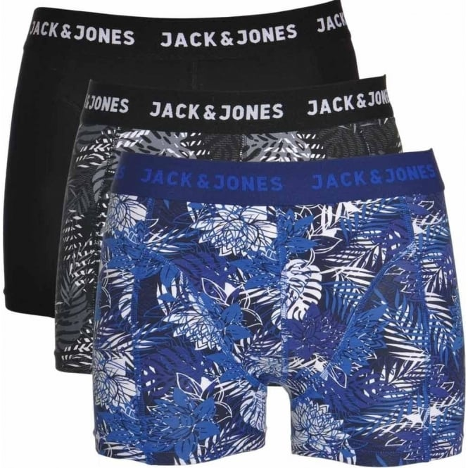 Jack & Jones Cotton Stretch 3 Pack Trunk JACRAFT, Black / Grey Leaf Print / Blue Leaf Print