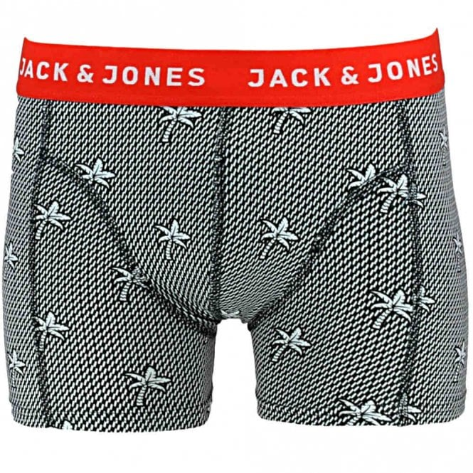 Jack & Jones Cotton Stretch Single Pack Trunk JACTIM, Palm print / Red