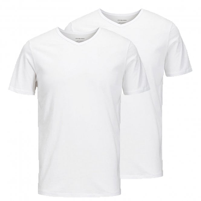 Jack & Jones Cotton V-Neck T-Shirt 2-Pack, White