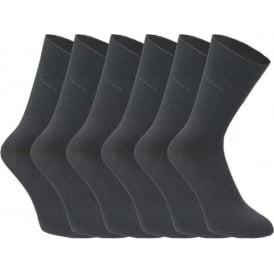 6 Pack Cotton Rich Business Socks, Grey
