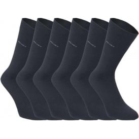 6 Pack Cotton Rich Business Socks, Navy