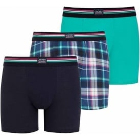 Cotton Stretch 3-Pack Boxer Trunk, Aqua Green/Check/Blue