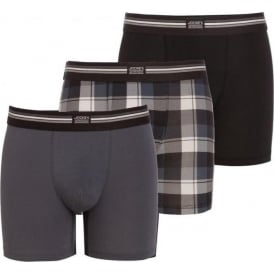 Cotton Stretch 3-Pack Boxer Trunk, Black / Check / Grey
