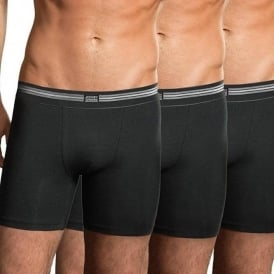 Cotton Stretch 3-Pack Boxer Trunk, Black