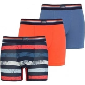 Cotton Stretch 3-Pack Boxer Trunk, Blue Horizon / Orange Red / Stripe