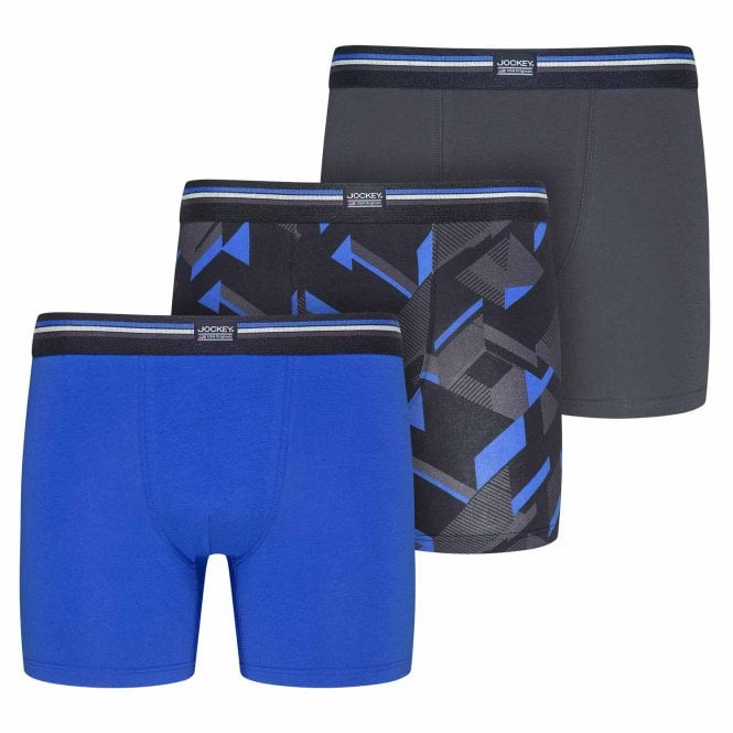 Jockey Cotton Stretch 3-Pack Boxer Trunk, Blue Iolite