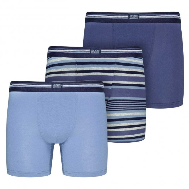 Jockey Cotton Stretch 3-Pack Boxer Trunk, Construct Blue