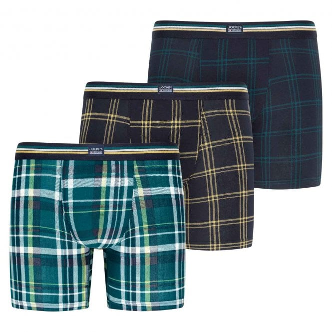 Jockey Cotton Stretch 3-Pack Boxer Trunk, Deep Teal