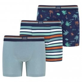 Cotton Stretch 3-Pack Boxer Trunk, Faded Blue