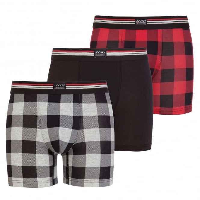 Jockey Cotton Stretch 3-Pack Boxer Trunk, Hawaiian Red Check / Black / Grey Check