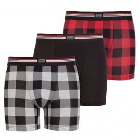 Cotton Stretch 3-Pack Boxer Trunk, Hawaiian Red Check / Black / Grey Check