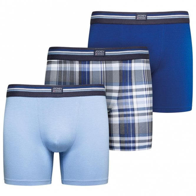 Jockey Cotton Stretch 3-Pack Boxer Trunk, Just Blue