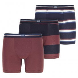Cotton Stretch 3-Pack Boxer Trunk, Light Claret