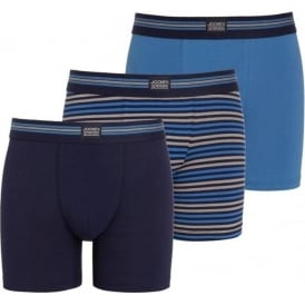 Cotton Stretch 3-Pack Boxer Trunk, Maritime Blue / Stripe / Navy