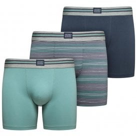 Cotton Stretch 3-Pack Boxer Trunk, Mineral Blue / Navy / Stripe