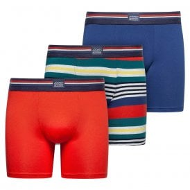 Cotton Stretch 3-Pack Boxer Trunk, Red Flame