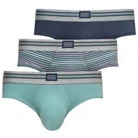Cotton Stretch 3-Pack Hip Brief, Mineral Blue / Navy / Stripe