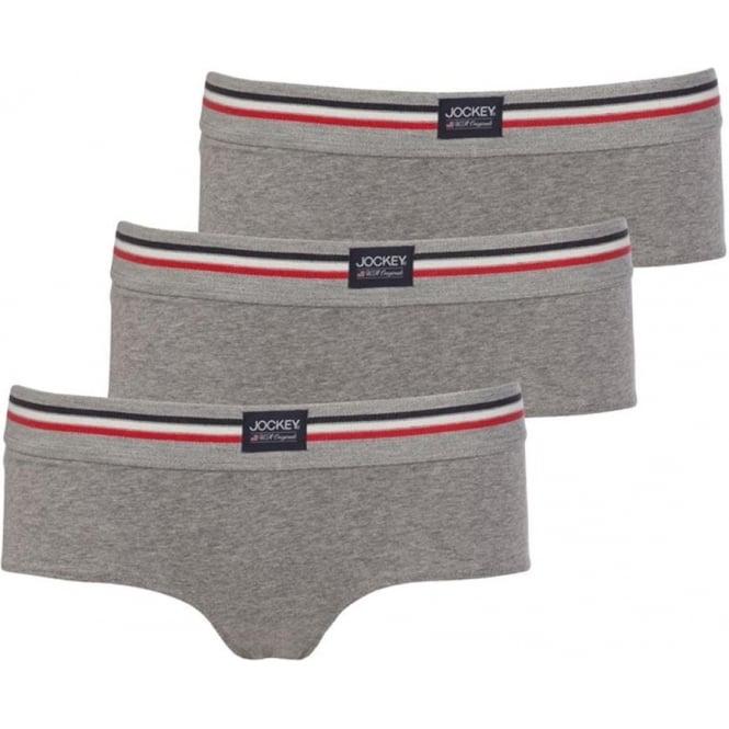 Jockey Cotton Stretch 3-Pack Hipster Briefs, Stone Grey