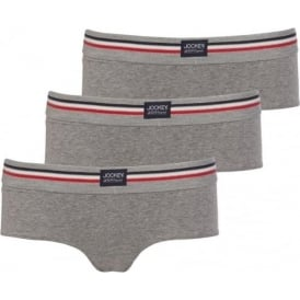Cotton Stretch 3-Pack Hipster Briefs, Stone Grey