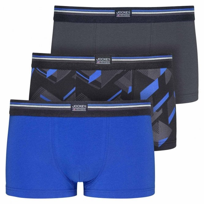Jockey Cotton Stretch 3-Pack Short Trunk, Blue Iolite