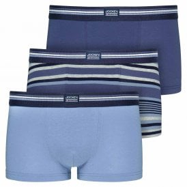 Cotton Stretch 3-Pack Short Trunk, Construct Blue