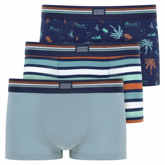 Jockey Cotton Stretch 3-Pack Short Trunk, Faded Blue