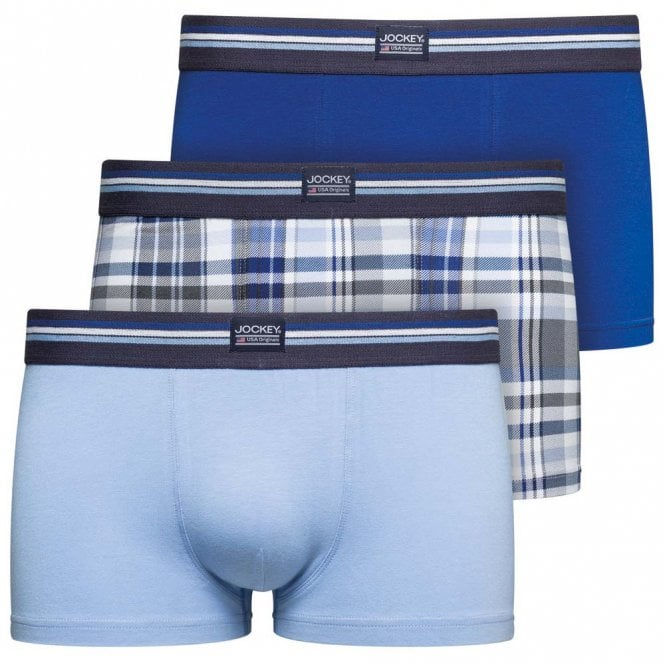Jockey Cotton Stretch 3-Pack Short Trunk, Just Blue