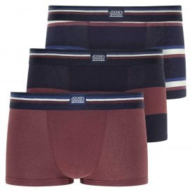 Cotton Stretch 3-Pack Short Trunk, Light Claret