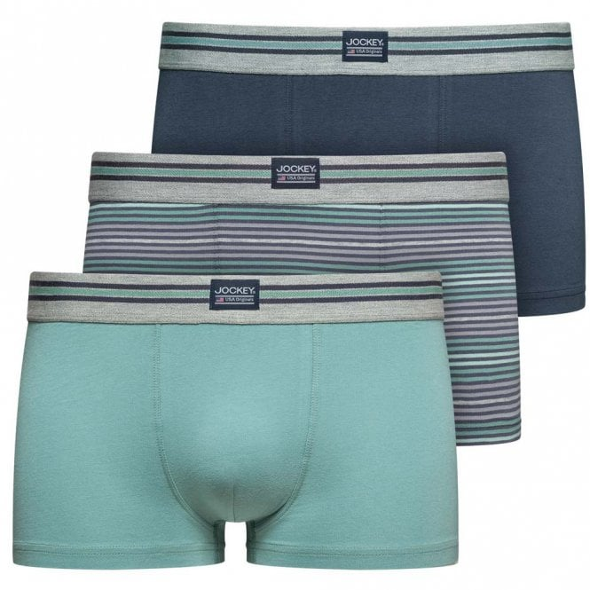 Jockey Cotton Stretch 3-Pack Short Trunk, Mineral Blue / Navy / Stripe
