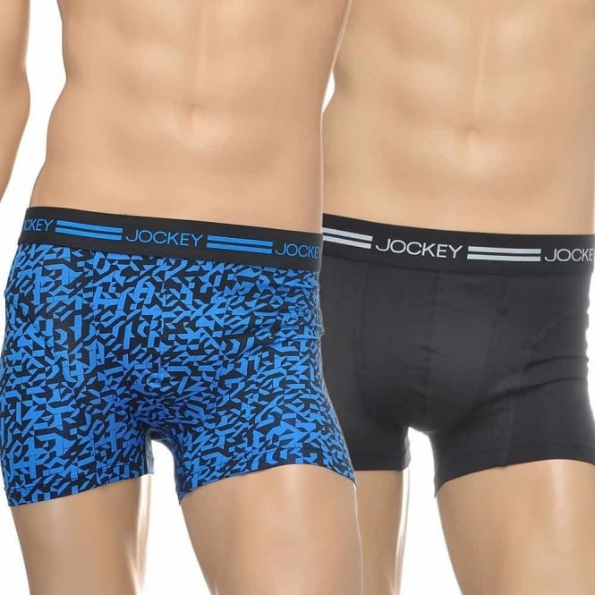 Jockey Sport Microfiber Active 2-Pack Trunk, Electric Blue Print