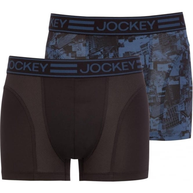 Jockey Sport Microfiber Active 2-Pack Trunk, Star Blue Print