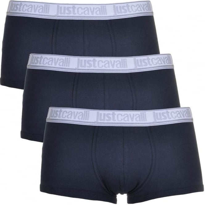 Just Cavalli Cotton Stretch 3-Pack Boxer Trunks, Navy